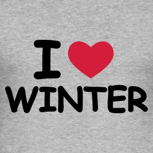 Grau meliert I Love Winter Pullover - Männer Slim Fit T-Shirt