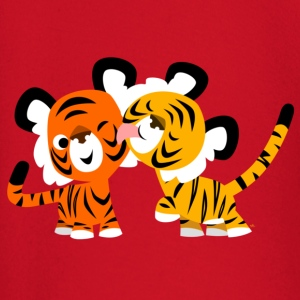 Red Cute Cartoon Tigers in Love by Cheerful Madness!! Kids' Shirts - Baby Long Sleeve T-Shirt