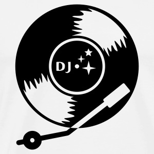White/black DJ vinyl LP (1c) Long sleeve shirts - Men's Premium T-Shirt