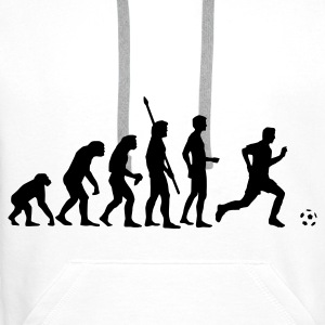 White evolution_fussball  Aprons - Men's Premium Hoodie