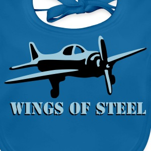 wings_of_steel_2c T-shirts - Ekologisk babyhaklapp