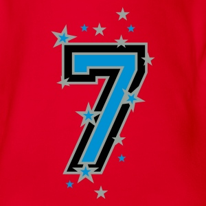 Red The number seven 7 with  stars  Kids' Shirts - Organic Short-sleeved Baby Bodysuit