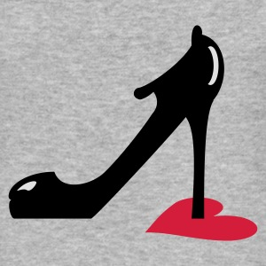 Gråmelerad highheel step on heart (3c) Tröjor - Slim Fit T-shirt herr