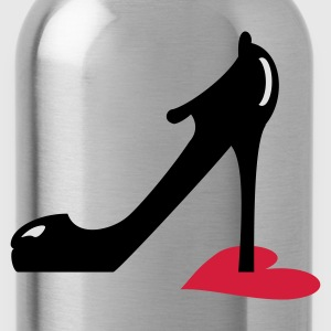 Lila highheel step on heart (3c) Bioprodukte - Trinkflasche