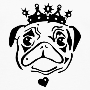 White Pug with crown and heart pendant. Mugs  - Men's Premium Longsleeve Shirt