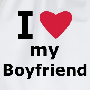 White I love my boyfriend Men's T-Shirts - Drawstring Bag