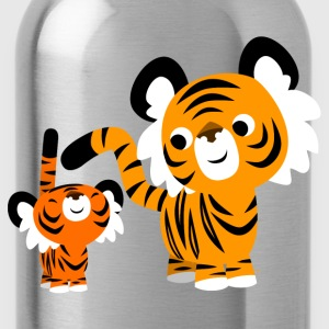 Red Cute Cartoon Small and Big Tigers by Cheerful Madness!! Kids' Shirts - Water Bottle