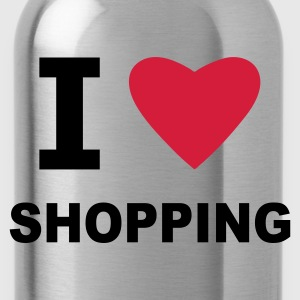 Black I Love Shopping Bags  - Water Bottle