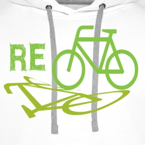 White/black Cycle Recycle Men's T-Shirts - Men's Premium Hoodie
