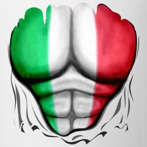Italy Flag Ripped Muscles six pack chest apron - Mug