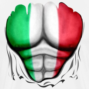 Italy Flag Ripped Muscles six pack chest apron - Men's Premium T-Shirt