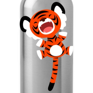 Royal blue Cute Bouncing Cartoon Tiger by Cheerful Madness!! Kids' Shirts - Water Bottle