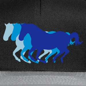 Black Three horses at a gallop - Horse riding - dressage horses riding horse race Hoodies & Sweatshirts - Snapback Cap