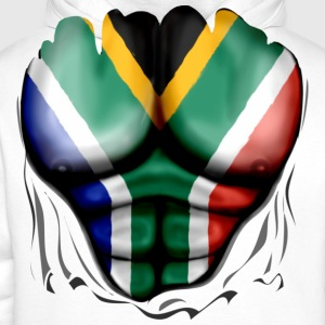 South Africa Flag Ripped Muscles, six pack, chest  - Men's Premium Hoodie