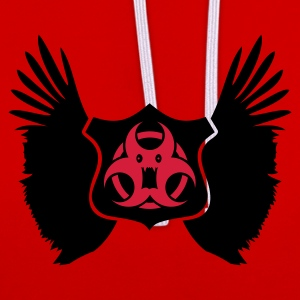 Donkerrood winged Biohazard Monster Emblem (2c) T-shirts - Contrast hoodie