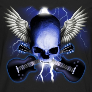 Schwarz skull_and_wings_and_guitars T-Shirts - Männer Premium Langarmshirt