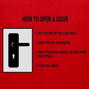 Rood How to open a door T-shirts - Mannen Premium tank top