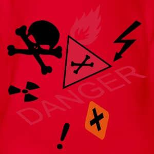 Red caution flammable and deadly danger Kids' Shirts - Organic Short-sleeved Baby Bodysuit