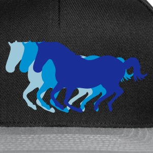 Black Three horses at a gallop - Horse riding - dressage horses riding horse race Men's T-Shirts - Snapback Cap