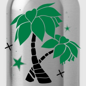 Charcoal Two palm trees on the beach Polo Shirts - Water Bottle