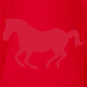 Red Horse pony riding horse gallop Kids' Shirts - Organic Short-sleeved Baby Bodysuit