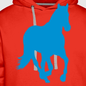 Red Horse pony riding wild horse rider Kids' Shirts - Men's Premium Hoodie