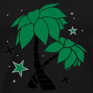 Green Two palm trees on the beach Umbrellas - Men's Premium T-Shirt
