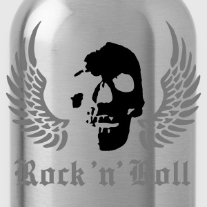 Black rock_skull_a_2c Men's T-Shirts - Water Bottle