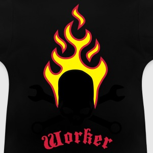 Black fire_skull_worker_b_3c Kids' Shirts - Baby T-Shirt