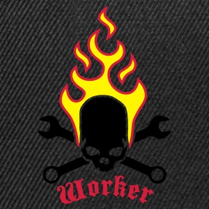 Black fire_skull_worker_b_3c Kids' Shirts - Snapback Cap