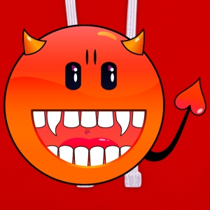 Donkerrood duivel Emoticon / devil smiley (A1, DDP) T-shirts - Contrast hoodie