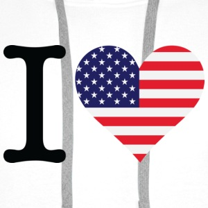White I Love USA Original (DD) Men's T-Shirts - Men's Premium Hoodie