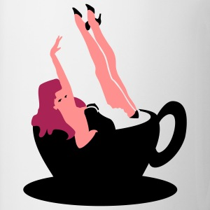 White Kaffee Pinup / coffee girl (3c) Men's T-Shirts - Mug