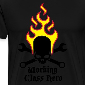 fire_skull_working_class_hero_a_3c Delantales - Camiseta premium hombre