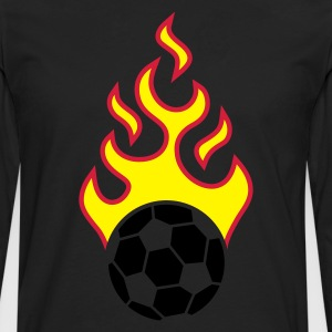 Black fire_fussball_a_3c_black  Aprons - Men's Premium Longsleeve Shirt