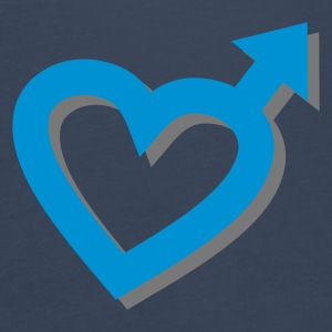 Sky blue Man Heart 3D Accessories - Herre premium T-shirt med lange ærmer