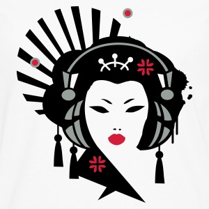 White Geisha with headphones Men's T-Shirts - Men's Premium Longsleeve Shirt