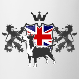 White Bullterrier Union Jack RU Men's T-Shirts - Mug