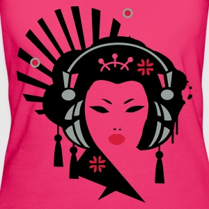 Magenta Geisha with headphones Bags  - Women's Organic T-shirt