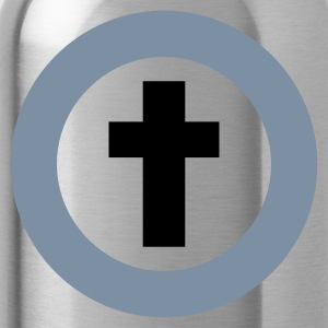Zwart omcirkelde kruis / circled cross (rel, 2c) T-shirts - Drinkfles