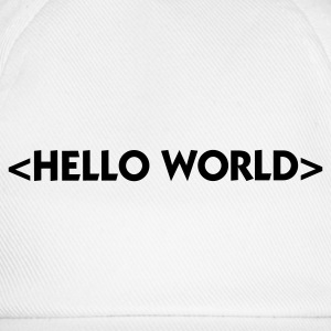 Red Hello World (1c) Baby Bodysuits - Baseball Cap
