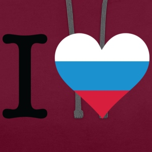 Neon pink I Love Russia 1 (DD) T-shirts - Contrast hoodie