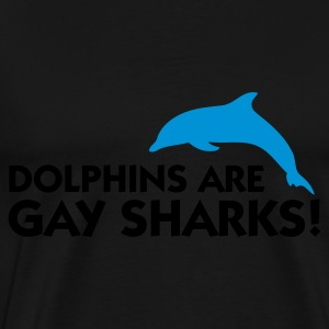 Zwart Dolphins are Gay Sharks (2c) Sweaters - Mannen Premium T-shirt