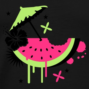 Black Melon with cocktail umbrella and hibiscus flower Umbrellas - Men's Premium T-Shirt