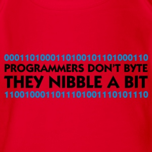 Rood Programmers don't Byte - They Nibble (2c) Kinder shirts - Baby bio-rompertje met korte mouwen
