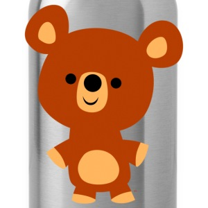 Black Cute Friendly Cartoon Bear Cub by Cheerful Madness!! Kids' Shirts - Water Bottle
