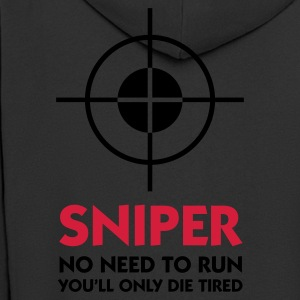Black Sniper - No need to run (2c) Polo Shirts - Men's Premium Hooded Jacket