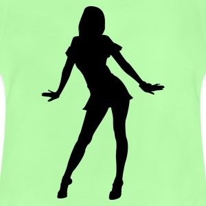 Leaf green silhouette girl dancer Bags  - Baby-T-shirt
