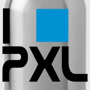 I love pixels, font type, stencil, and computer geeks nerd PXL T-Shirts - Water Bottle