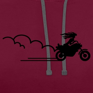 Rose néon épouse de motards / biker bride (1c) T-shirts - Sweat-shirt contraste